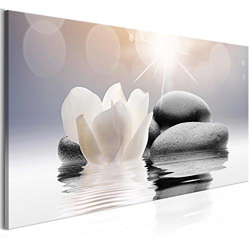 murando Impression sur Toile intissee Fleurs Spa 100x45 cm 1 Piece Tableau Tableaux Decoration Murale Photo Image Artistique Photographie Graphique Pierre Zen b-B-0267-b-a