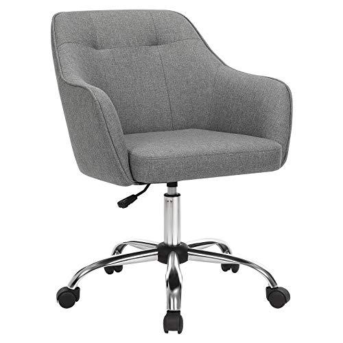 SONGMICS Fauteuil de bureau, Chaise pivotante confortable, Siège ergonomique, réglable en hauteur, charge 120 kg, cadre enacier, tissu imitation lin, pour bureau, Gris OBG019G01