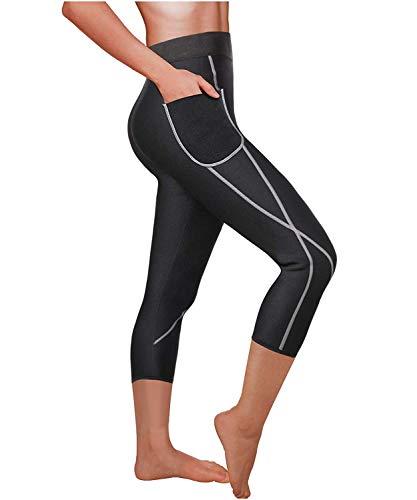 Leggings Anti Cellulite Pantalon Sauna Minceur Hot Shapers Femme Sport Gaine Jambes Body Amincissant (Noir, 2XL)