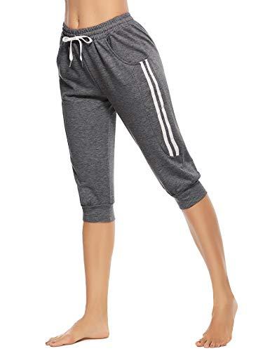 Doaraha Pantalon Sport Femme Taille Haute d'Été en Coton 100% Capri de Survêtement Léger 3/4 Pantacourt Femme Décontracté de Jogging Respirant avec Cordon, Gris Foncé, M