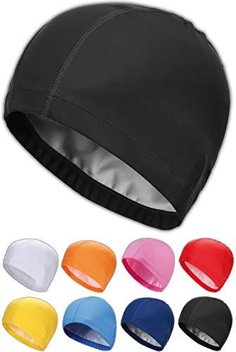 SQUATCH® | Bonnet de Bain Piscine Natation | Mixte Adulte Homme-Femme | Tissu PU Souple et Confortable | Facile à Enfiler | 8 Couleurs (Noir) prix et achat