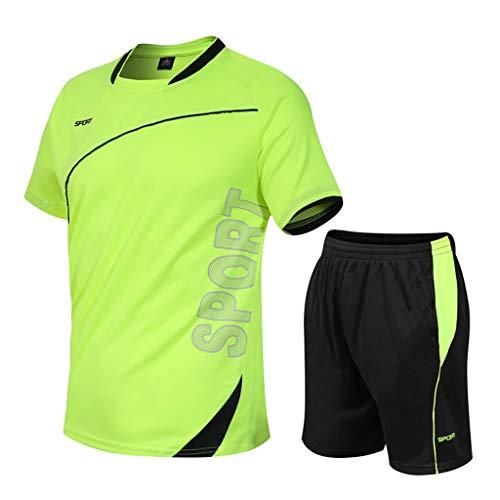 BUZHIDAO Ensemble de vêtements de sport courts pour homme - Séchage rapide - Pantalon de...