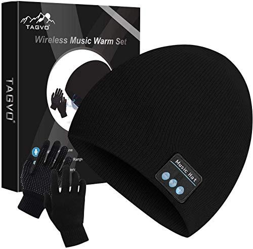 TAGVO Bonnet Bluetooth avec Gants tactiles, Hiver Chaud tricoté sans Fil Bluetooth Casque Musique Chapeau pour la Course à Pied, randonnée, Cadeau de Noël