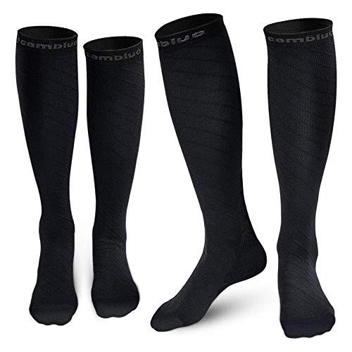 CAMBIVO 2 Paires Chaussettes de Contention, Bas de Compression Homme et Femme, Noir, L/XL:...