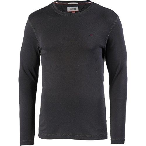 Tommy Jeans Homme Original Rib T-Shirt Manches Longues Noir (Tommy Black 078) Large prix et achat