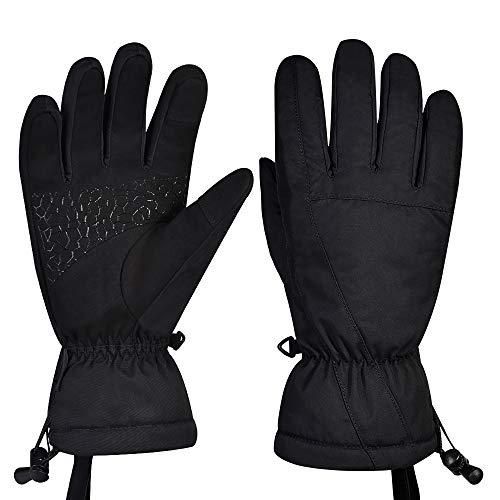 Fitfirst Gants de Ski, imperméables à l'eau pour Homme et Femme - Noir - Taille M