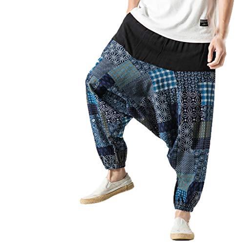 manadlian Pantalon Large Homme Jambes Large Pants Chic Evasé Elastiqué Taille Haute Pantalon de Sport en Lin Grandes Tailles Sweatpants Amincissant Casual Pantalons Rétro Pantalons de Yoga