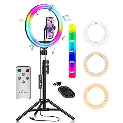 ring light avec trepied portabl,Elekin lampe selfie sur pied,smartphone selfie trepied anneau lumineu tik tok video kit youtub,10 types de modes monochromes RGB, 30 types de modes d'éclairage colorés