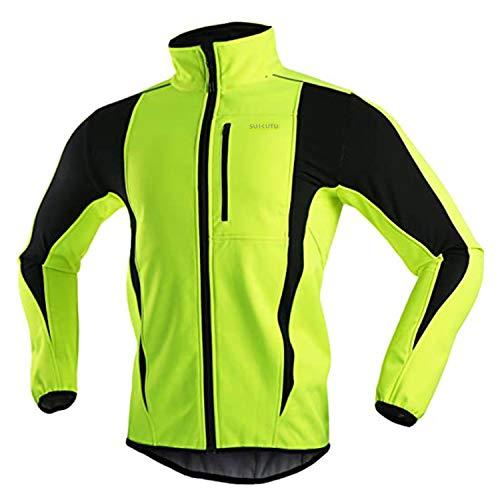 SUKUTU Veste de cyclisme pour hommes Coupe-vent imperméable Maillot de vélo chaud thermique Manteau VTT,XL,Vert