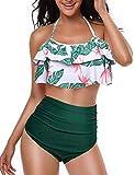 Yuson Girl Femme Vintage Floral Dos Nu Maillot De Bain Taille Haute à Pois Retro Bikini Volant Ensembles 2 Pièces Haut Tankini Rembourré Push Up Grossesse Paisley Triangle Bas, Vert-a, FR44