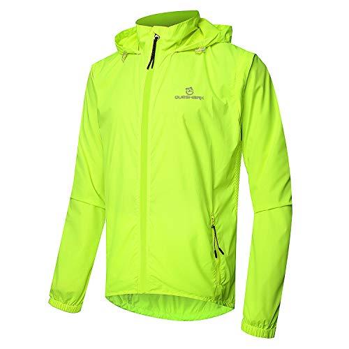 Queshark Veste de Cyclisme pour Hommes Gilet Coupe-Vent Manteau Résistant à l'eau Respirant Sportswear de Plein Air Protection UV