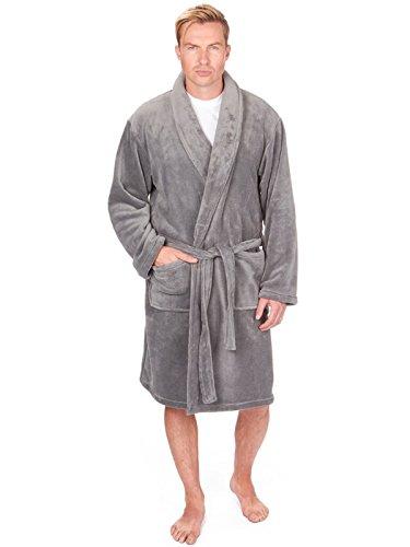 Pierre Roché Robe de Chambre en Molleton Corail de Luxe pour Homme (Medium, Gris)