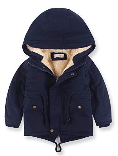 Odziezet Doudoune pour Bébé Garçon Veste d'hiver avec Capuche Doudoune Ski Manches Longues Enfant Manteau Chaud ,Bleu Foncé,4-5 ans