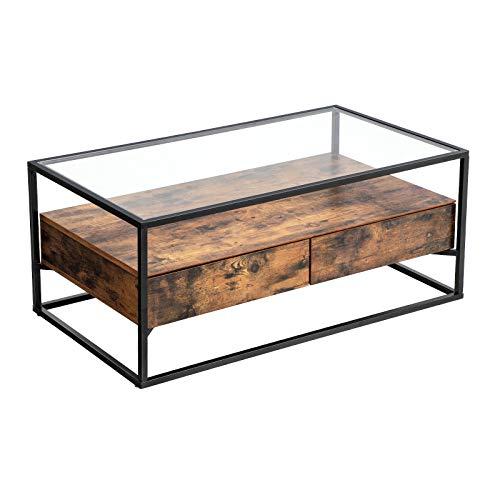 VASAGLE Table Basse de Style Industriel, Plateau en Verre trempé, 2 Tiroirs, Tablette Rustique, Table de Salon décorative, Armature en Acier Rigide LCT31BX