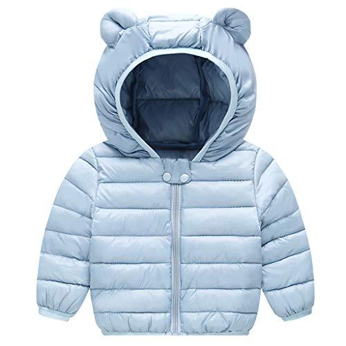 Bébé Hiver Manteau à Capuche Enfant Veste Manches Longues Léger Blousons Bleu 6-12 Mois