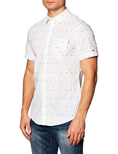Tommy Jeans TJM Short Sleeve Dobby Shirt Chemise, Blanc, XS Homme