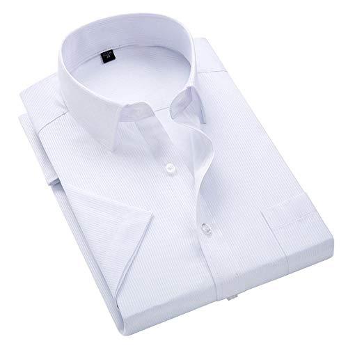 SHENSHI Chemise Homme Manche Courte,Chemises Boutonnées Classiques, Plus La Taille 8XL Rayé Chemise Twill Affaires Hommes Chemises Habillées Régulières, Rayures Blanches, X, Grand prix et achat