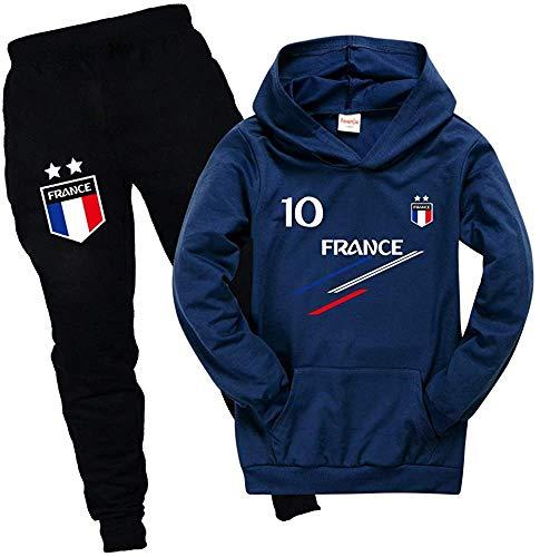 Ambcol Jogging survêtement de Football France 2 étoiles Enfant (Bleu,12 Ans)