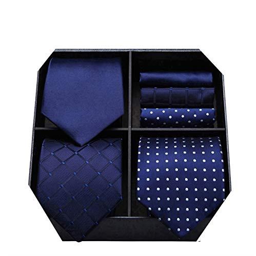 HISDERN Lot 3 PCS Cravate Homme Polka Dot Check Stripe Solide Couleur Mouchoir de mariage...