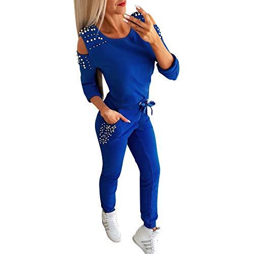 Minetom Femmes 2 Pièce Survêtement Combinaison Perlé Sweats à Capuche Sweatshirts +...