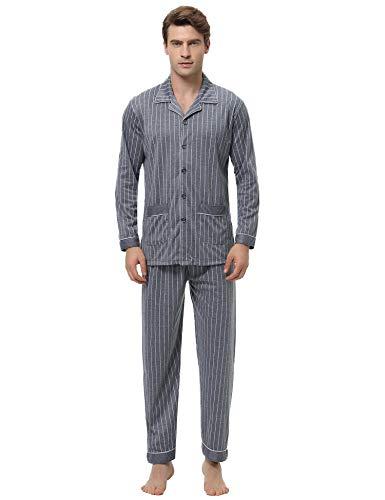 iClosam Pyjama Homme Hiver, Pyjama Homme Long Coton à Carreaux Classique Chemise Pyjama Homme...