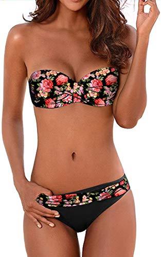 EUDOLAH Maillot de Bain Deux pièces Bikini rembourré Couleur uni Push up Fermeture Bretelle (Small,0A Fleur rouge)