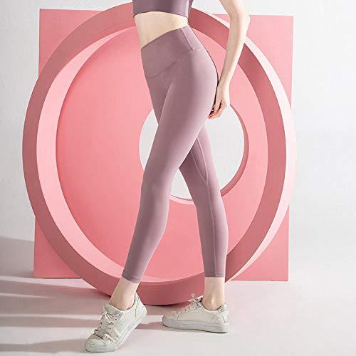 Cxypeng Leggings de Compression Anti-Cellulite,Pantalon de Yoga Nude brossé Double Face, Collant Court à Poche Taille Haute-Violet_S,Pantalon de Sport Leggings Basique