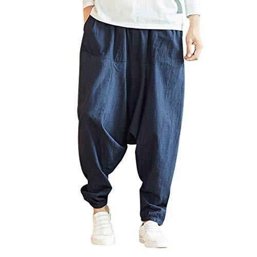 KUKICAT Pantalon Homme Lin été Grande Taille Sarouel Jogging Pantalons Large Hip-hop Taille...