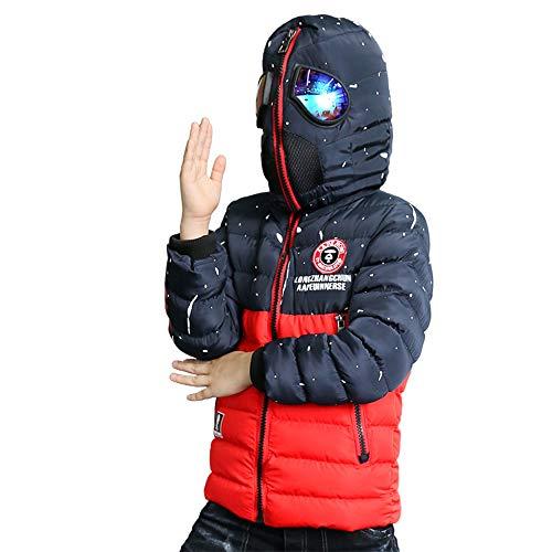 Veste d'hiver rembourrée à capuche pour garçons, tout-petits, enfants, garçons, enfants, pour costume de Spiderman (couleur : rouge, taille : 13–14 ans)