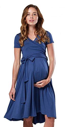 Happy Mama.Maternité d'allaitement Femme Robe Manche Courte Couche Double.598p (Bleu Gris, 40, L)