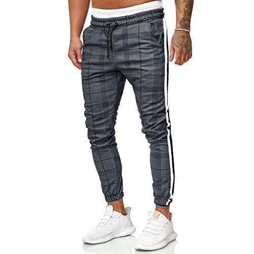 WINJIN Pantalon Homme Slim Carreaux Impression Pantalon Jogging Bas de Survêtement Sweat Pants...