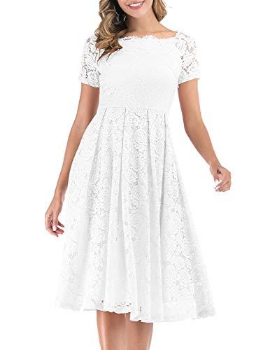 DRESSTELLS Robe de Soirée Cocktail Femme Robe de Cérémonie Fête en Dentelle col Bateau Manches Courtes White XL
