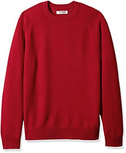 Marque Amazon – Goodthreads Pull en laine d'agneau avec col rond pour homme, Rouge (red Red), US M (EU M)