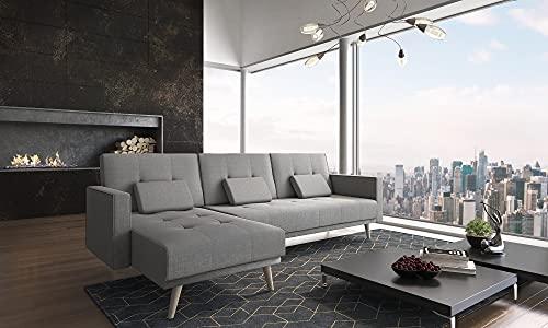 Skraut Home - Canapé d'angle Convertible Verona 267cm, Convertible en lit, réversible,Gris Clair