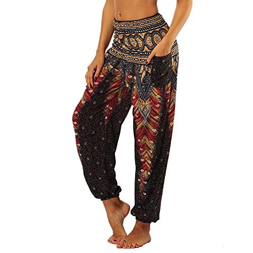Nuofengkudu Femme Harem Pantalon Sarouel Thaïlandais Hippie Baggy Léger Boho Ethnique...