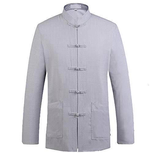 Chemise pour Homme Costume Tang Uniforme De Kungfu à Manches Longues en Style Chinois pour Jeune Et Moyen âge,D-XXL prix et achat
