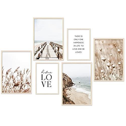 Posters Décoration Murale - Beige LOVE plage photos roseaux salon affiche chambre tableaux posters et arts décoratifs décoration - ensemble de 6 sans cadre (4x A3 | 2x A4