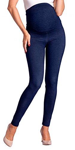 Zeta Ville - Femme maternité Leggings Effet Jean empiècement Extensible - 948c (Jeans Marine,...