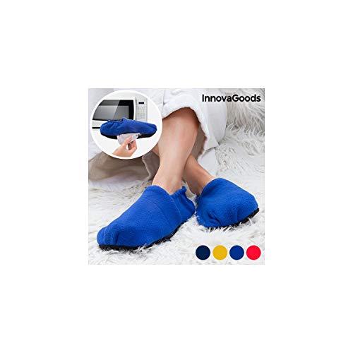 Chaussons Chauffants - Pantoufles de Maison Chauffables au Micro-ondes - Graines de Lin amovibles et chauffables au micro-ondes - Rouge Bleu Léopard Dalmatien - Taille 36 - 42 (bleu)