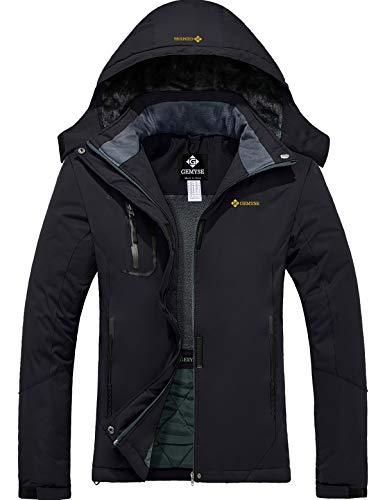 GEMYSE Femme Veste de Ski Imperméable de Montagne Manteau d'hiver Extérieur en Polaire Coupe-Vent avec Capuche (Noire,XL)