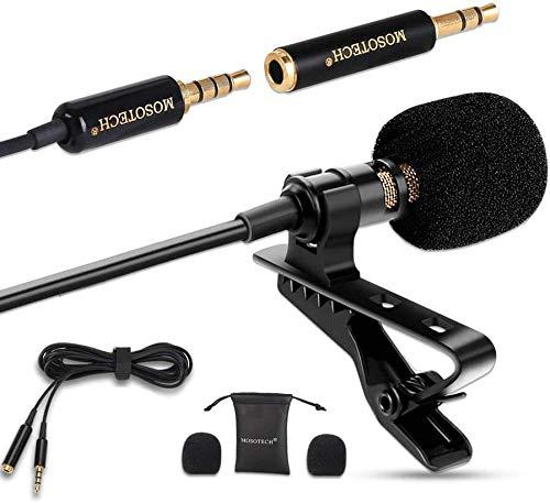 Mosotech Micro Cravate, Omnidirectionnel Audio Enregistrement Microphone à Condensateur avec 2m Rallonge, Micro Smartphone avec Clip, Compatible pour iPhone/Android/Appareil Photo/PC/Tablette