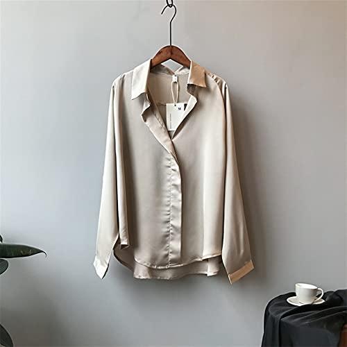 ROTAKUMA Chemisier Occasionnel Femmes Manches Longues Tops Chemises Élégante Blouse De Soie Sexy (Color : Champers, Size : Medium) prix et achat