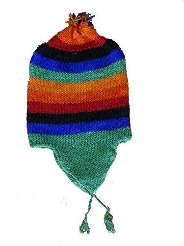 véritable Bonnet péruvien 100% Laine de Mouton tricoté Main fabriqué au pérou Chullo Hiver Chaud Femmes Hommes Taille Unique Mixte Bandes Arc en Ciel Rainbow (D4) prix et achat
