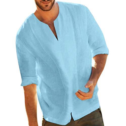 manadlian Chemise à Manches Longues pour Hommes T-Shirts Polos et Chemises en Coton et Lin...