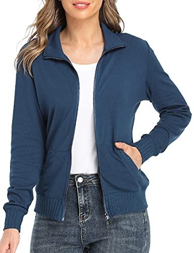 Blouson Femme Sweatshirt Manches Couleur Unie Longues Courtes Casual Sweat Zippé Sweat-Shirt avec Poches Veste de Sport avec Poches, Bleu-1311, S prix et achat