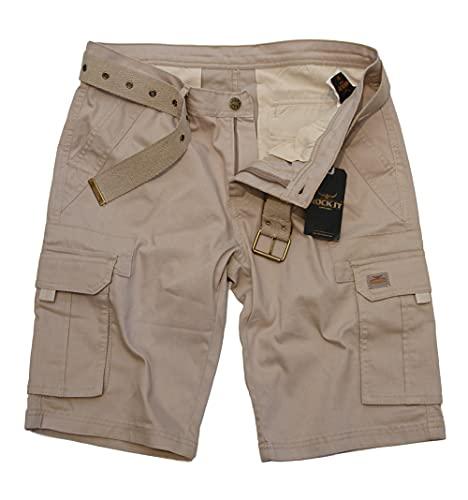 ROCK-IT Apparel Bermuda pour Hommes avec Ceinture Bermuda Vintage avec 6 Poches à Fermer Pantalon Court d'été pour Hommes - Tailles S-5XL - Kaki XL