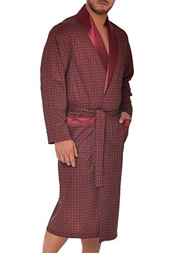 LEVERIE Robe de Chambre Chic et élégante pour Homme, Bordeaux, L