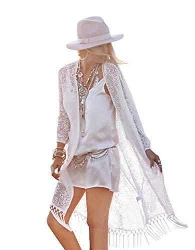 Uniquestyle Veste Longue Femme Gilet Femme Leger Crochet Cardigan Long Femme Lin Manches Longues été Outwear Femme Sexy élégante Tricot Ouvert Cérémonie Gland Paréo Tunique Blanc E