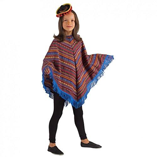 Krause & Sohn Poncho Mexicain pour Les Enfants colorés/Bleu Carnaval Pays Mexique Enfants Costumes