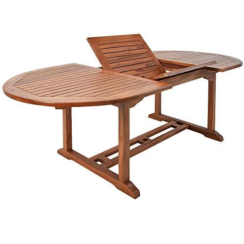 Deuba Table de Jardin Vanamo Bois d'eucalyptus 200 x 100 x 74 cm Dépliable Extérieur Terrasse